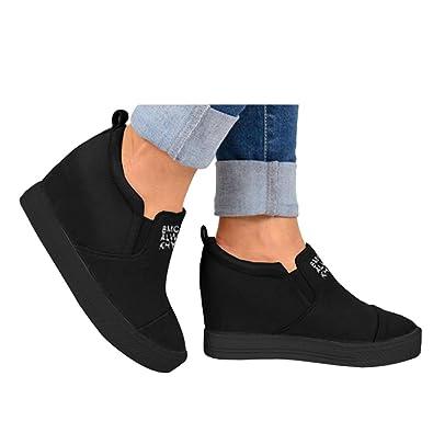 9ce3b7fdfc3a4d Athlefit Women s Hidden Wedge Sneakers High Heel Slip On Platform Loafers  Size 5.5 Black