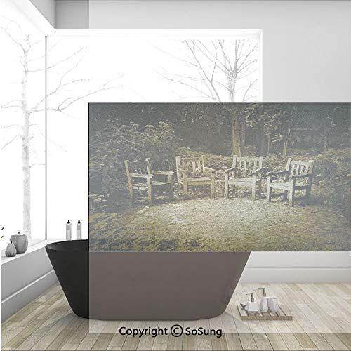 3D Decorative Privacy Window Films,Four Small Wooden Rustic Chairs in Backyard Hobbit Land New Zealand Sepia Image,No-Glue Self Static Cling Glass film for Home Bedroom Bathroom Kitchen Office 36x24 I]()