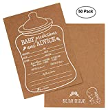 50 Rustic Prediction and Advice Cards for Baby Shower Game, New Mom & Dad Card To Be, For Girl or Boy Babies, New Parent Message Advice, Invitations card(Nursing-bottle)