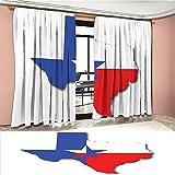 LedfordDecor Texas Star Window Curtain Drape Outline of the Texas Map American Southwest Austin Houston City Decorative Curtains For Living Room Vermilion White Violet Blue