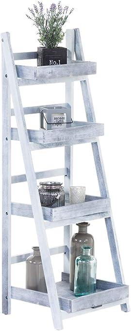 Estantería Escalera Dorin con 4 Estantes I Estantería Plegable en Estilo Rústico I Estantería Decorativa de Madera I Color:, Color:Gris: Amazon.es: Hogar
