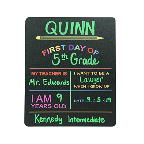 Custom Product Solutions Reusable My First Day of School Milestone Chalkboard Sign. Photo Prop Board for Kids, Black w/color print - 12