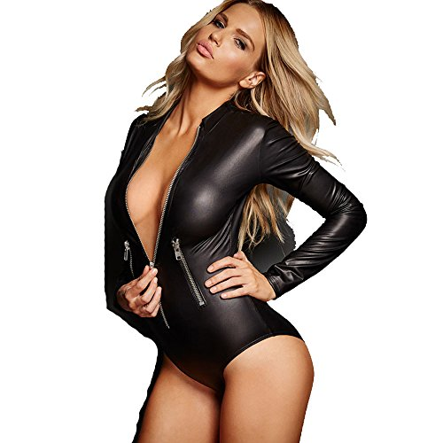 Women's Black Faux Leather Wet Look Zipped Bodysuit Zipper Detail Long Sleeve Playsuit Various Size (S, (Black Faux Leather Bodysuit)