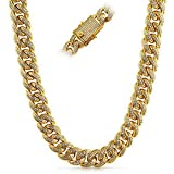 Full CZ Clasp Gold Iced Out Miami Cuban Chain 15MM Thick