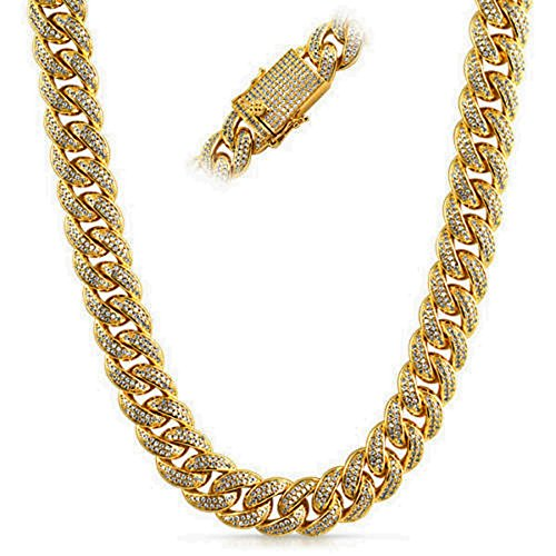Full CZ Clasp Gold Iced Out Miami Cuban Chain 15MM Thick by Time scent