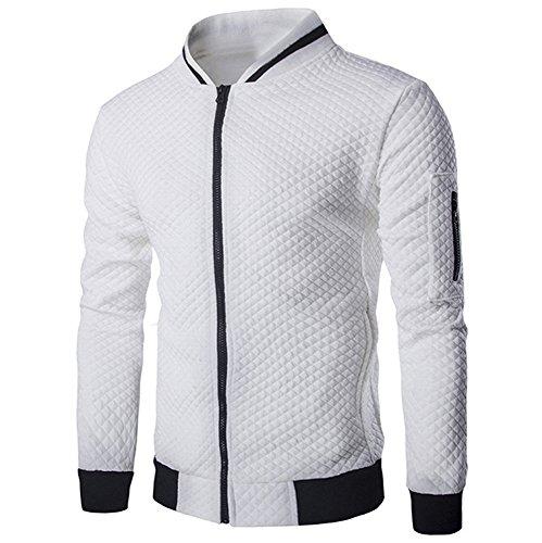 Farjing Sweatshirt for Men,Clearance Sale Mens' Long Sleeve Plaid Cardigan Zipper Sweatshirt Tops Jacket Coat Outwear(M,White by Farjing (Image #4)