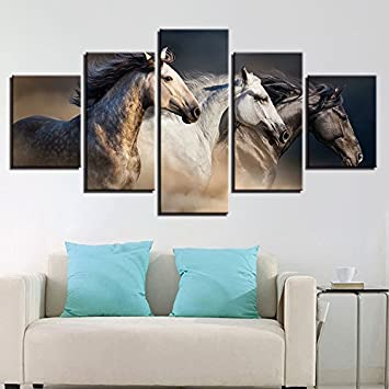 Marvelous 5 Pieces Fast Running Horses Canvas Print Wall Art Home Decorつの馬は、高速