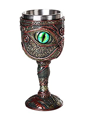 Pacific Giftware The Eye of The Dragon Mystical Fantasy Chalice 7oz Wine Goblet with Removable Stainless Steel Insert