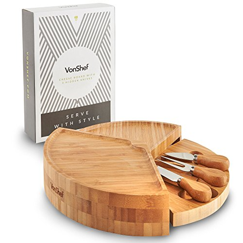 Piece Cheese Board Set - VonShef Bamboo Wood Tiered Fold Out Cheese Board and 3 Piece Specialist Knife Set, 13 Inch Diameter