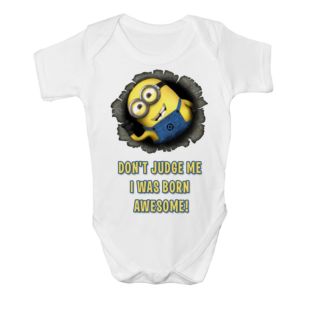 Cute Despicable Me Funny Perfect Minion Baby Vest Grow Bodysuit Age Size New