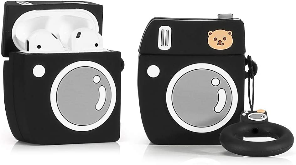 LEWOTE Airpods Silicone Case Cover Compatible for Apple Airpods 1&2[Funny Design][Best Gift for Girls Kids or Woman] (Camera Black)(1 Pack)