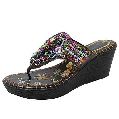 Carolbar Women's Beaded Embroidered Bohemia Flip-Flops Wedges Sandals Slipers (8, ()