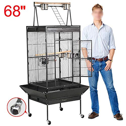 Yaheetech 68'' Wrought Iron Select Rolling Large Bird Cages for African Grey Parrots Cockatiels Green Cheek Conure Play Top Bird Cage with Stand ()