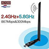 Covvy USB Wifi Adapter Dual Band 2.4G/5G Wifi Dongle with Antenna Wireless Network LAN Card for Laptop Desktop PC Windows (AC1200Mbps)