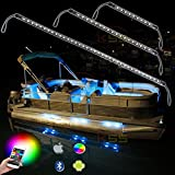 Kingshowstar 6pc Led Marine Strip Light LED Boat Light RGB Bluetooth LED Boat Lights with Bluetooth Controller,Music Mode - 6 Pods Ip66 Water-Proof Marine Boat LED Light Waterproof Boat Light
