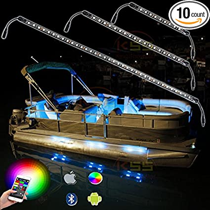 Kingshowstar 6pc Led Marine Strip Light Led Boat Light Rgb Bluetooth Led Boat Lights With Bluetooth Controller Music Mode 6 Pods Ip66 Water Proof