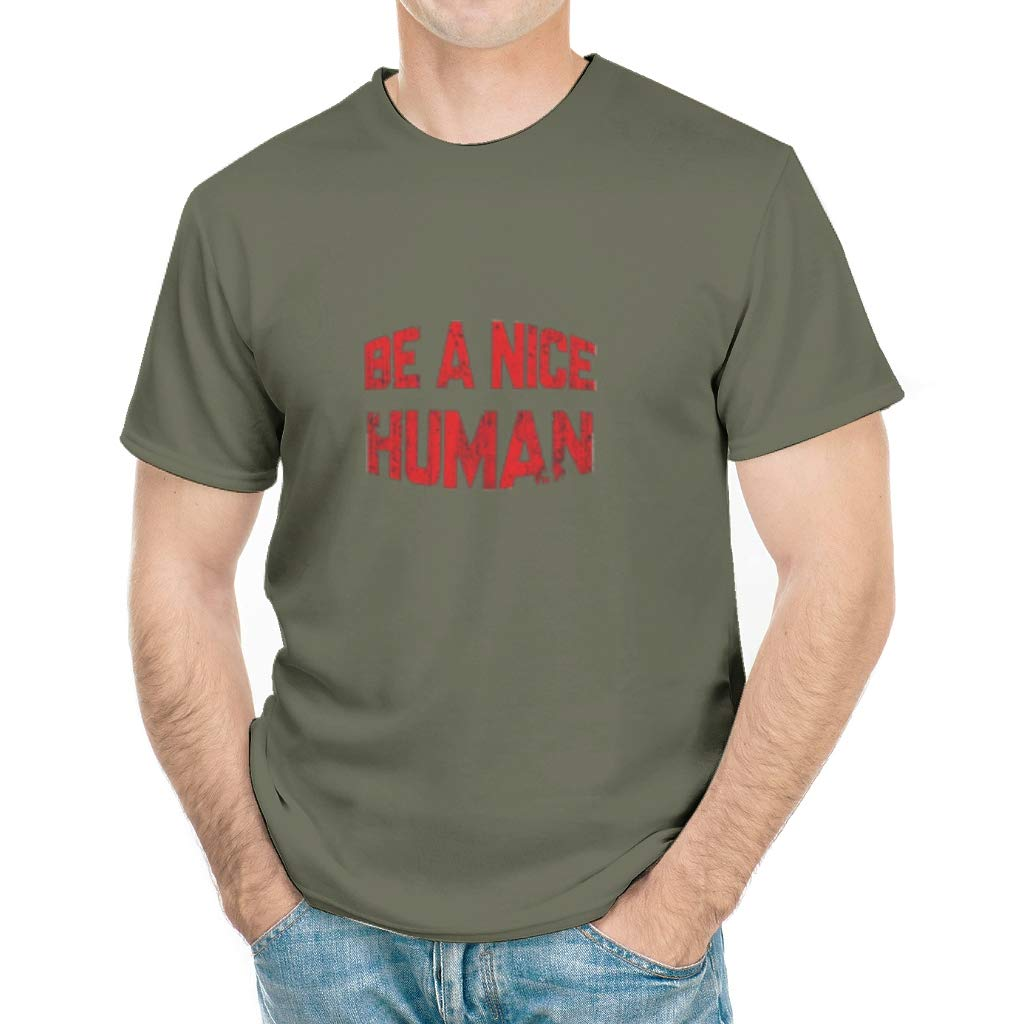 Adbyauuwy Be A Nice Human Novelty Cool Crew Neck For Shirts