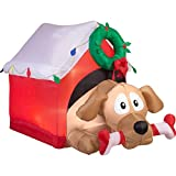 Christmas Inflatable 5 1/2' Animated Dog w/ Candy Cane Bone in Decorated Dog House