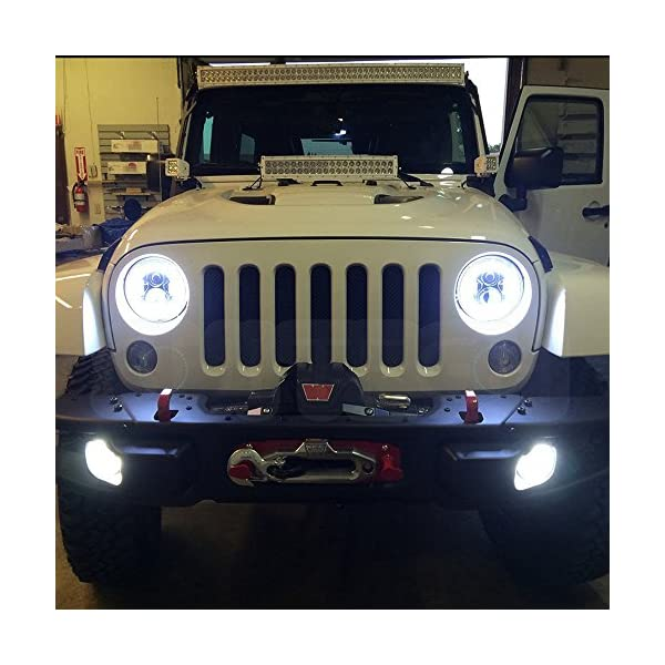 7 Inch LED Headlight Conversion Kits With Super Bright LEDs DLR Halo Light For Jeep Wrangler Jk TJ FJ Cruiser Hummer Trucks Motorcycle Headlamp H4 To H13 Adapter By SuiTech