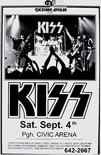 Kiss Live at Civic Arena 1976 Retro Art Print — Poster Size — Print of Retro Concert Poster — Features Paul Stanley, Gene Simmons, Eric Singer and Tommy Thayer .