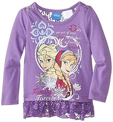 Disney Little Girls' Anna and Elsa Long Sleeve Top, Purple, 2T - Toddler Purple Character T-shirt