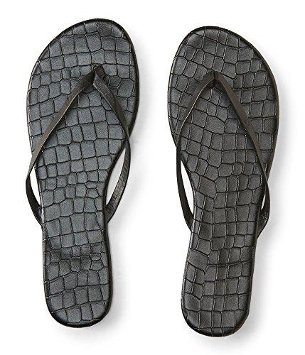 Aeropostale Womens Croc Flip Flop Sandals, Black, 8 B(M) US