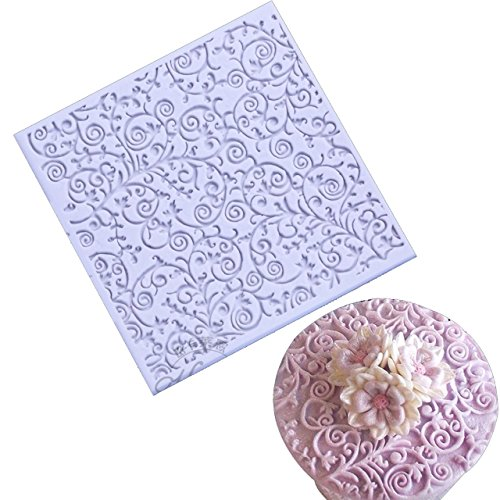 - Anyana square sugar edible vine lace mold cake silicone Embossing Mat Textured fondant impression lace mat decorating mold gum paste cupcake topper tool icing candy imprint baking pastry sugarcraft