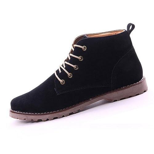 Gleader Nueva moda britanicos para hombre Casual de encaje gamuza Botines Mocasines Zapatillas de deporte Negro