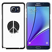 Planetar® ( Peace Hippie White Black Pen Art Sign ) Samsung Galaxy Note 5 5th N9200 Hard Printing Protective Cover Protector Sleeve Shell Case Cover