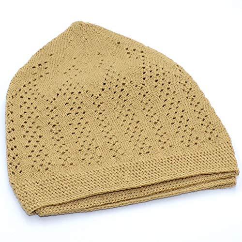 4df4729549e4a FREE GIFT Elegant Muslim Islamic Kufi Cap (Dark Golden) Prayer Hat Taqiya Takke  Peci
