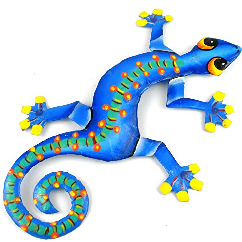 Eight Inch Spotted Spine Metal Gecko