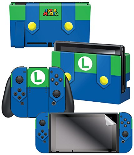 Controller Gear Nintendo Switch Skin   Screen Protector Set  Officially Licensed By Nintendo   Super Mario Evergreen  Luigis Outfit    Nintendo Switch