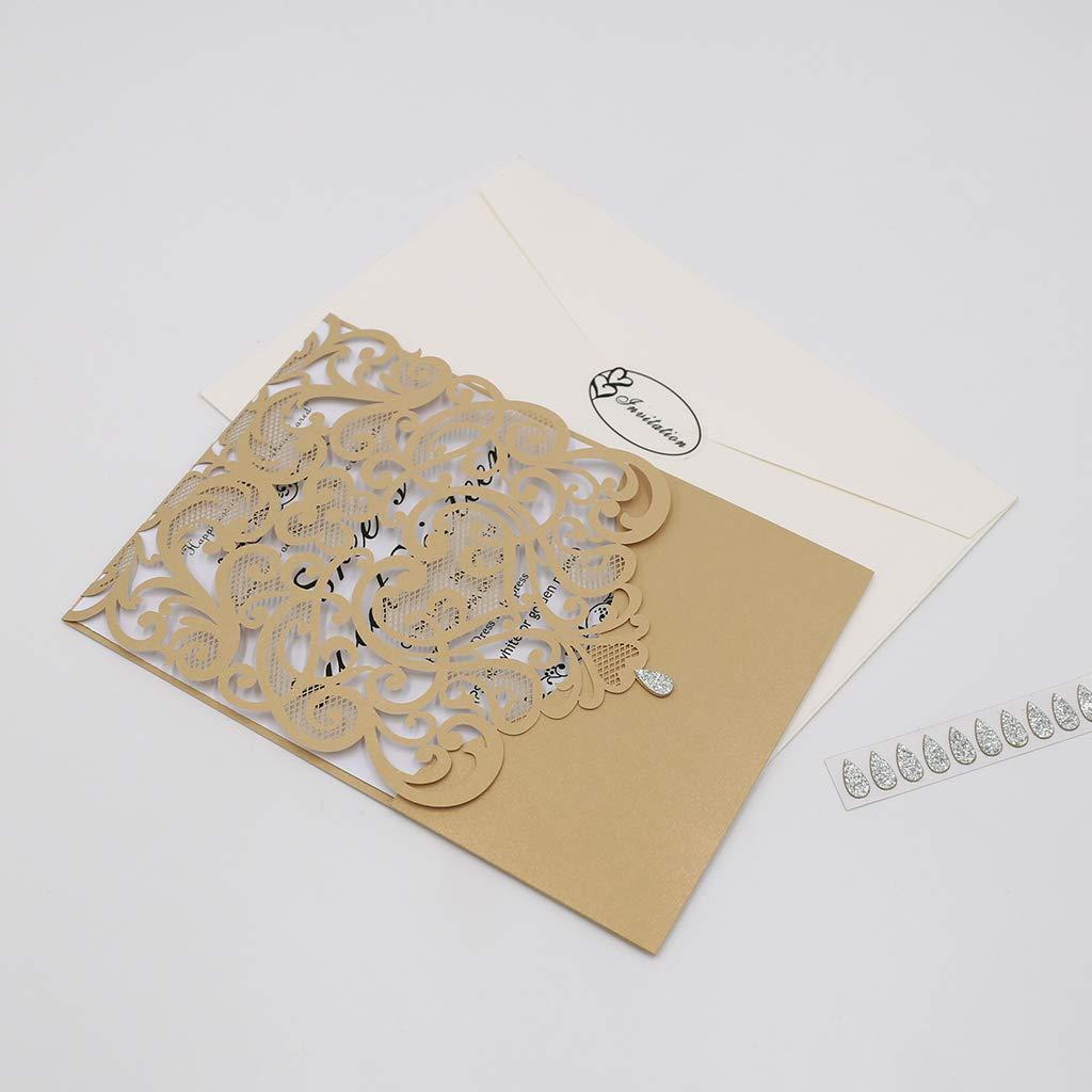 blu laurea compleanno affari CYSKY Invitation Card Confezione da 50 biglietti invito cuore con carta stampabile vuota e buste per matrimonio