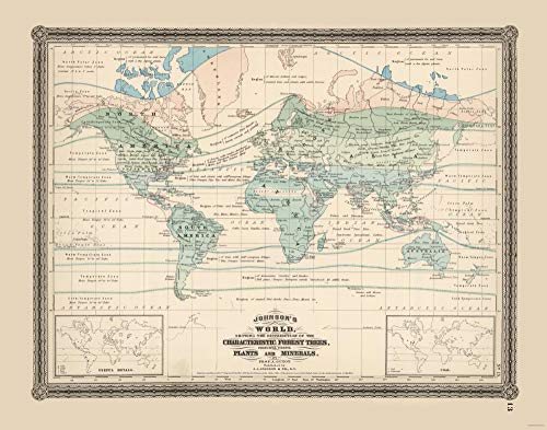 erals World Map - Johnson 1870-29.29 x 23 - Matte Canvas ()