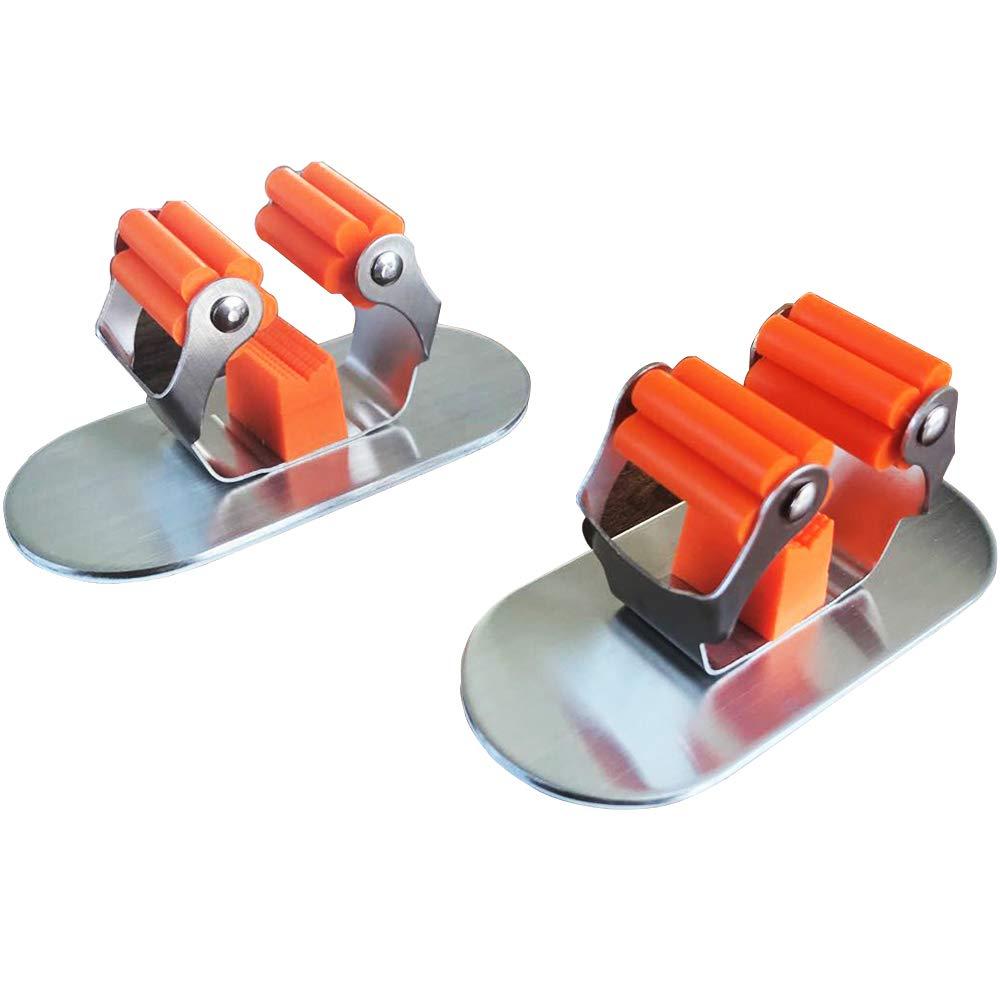MiraCase Mop and Broom Holder | Premium Stainless Steel Wall Mounted Garden Tool Organizer Storage | Spring Clip Anti-Slip Broom Hanger for Kitchen Bathroom Garden Garage| 2-Pack