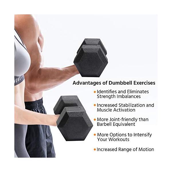 Yaheetech Lot de 2 Haltères Hexagone/Paire d'haltères Dumbbell Musculation Fitness pour Homme et Femme Entraînement Musculaire et Haltérophilie en Fer et PVC Noir accessoires de fitness [tag]