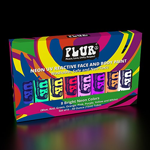 Neon Face and Body Paint Set of (8) .50oz Tubes UV Blacklight...