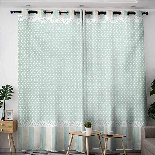 Home Curtains,Shabby Chic Traditional Old Fashioned Vertical Stripes Ornaments and Dots,Room Darkening, Noise Reducing,W96x72L,Almond Green Cream White