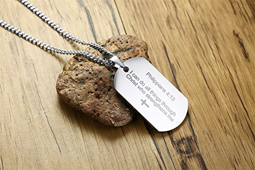 Philippians 4:13 Bible Verse Engraved Stainless Steel Dogtag Pendant Necklace for Men,Christian Religous Jewelry,Silver by Mealguet Jewelry (Image #4)