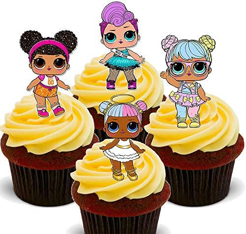 Made4You – Muñecas LOL Surprise, decoración comestible para cupcakes, obleas de pie para decoración de tartas