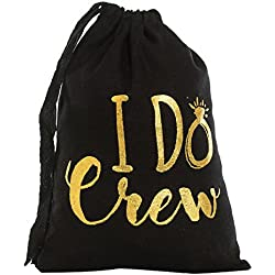 "Ling's Moment 10Pcs 5"" x 7"" Cotton Muslin Wedding Party Favor Bags Bridesmaid Gifts Bridal Party Gifts Gold""I Do Crew"" - Bachelorette Party Hangover Kit Drawstring Bags"
