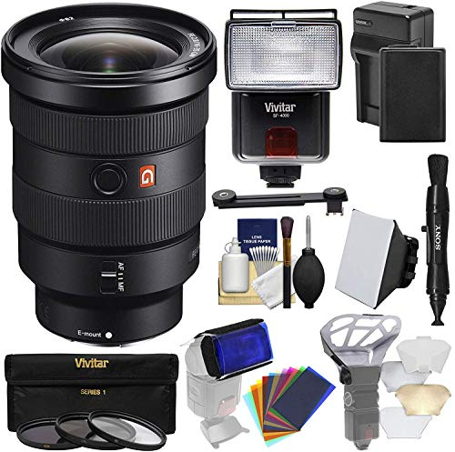 Sony Alpha E-Mount FE 16-35mm f/2.8 GM Zoom Lens with Battery & Charger + 3 UV/CPL/ND8 Filters + Flash + Soft Box + Kit