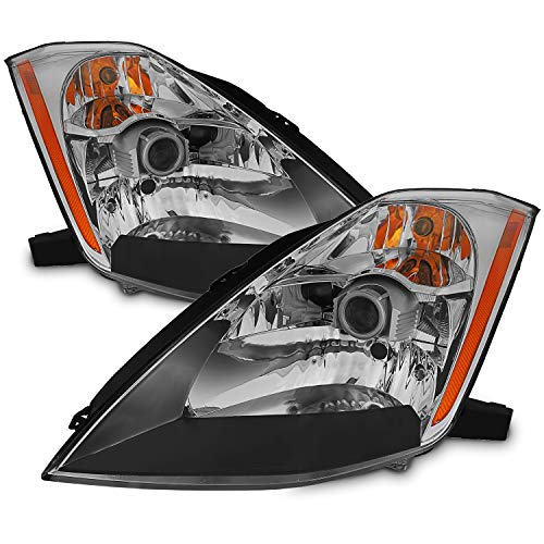 For 2003-2005 Nissan 350Z OE Replacement Chrome Bezel (HID Xenon Type) Headlights Driver/Passenger Head Lamps Pair