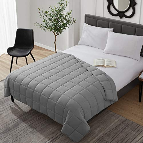 """Weighted Blanket Cooling Breathable Heavy Blanket Comforter Microfiber Material with Glass Beads (15lbs 48""""x72"""" Twin Size Bed) Big Blanket for Adult All-Season Fall Winter Soft Thick Comfort Blanket"""