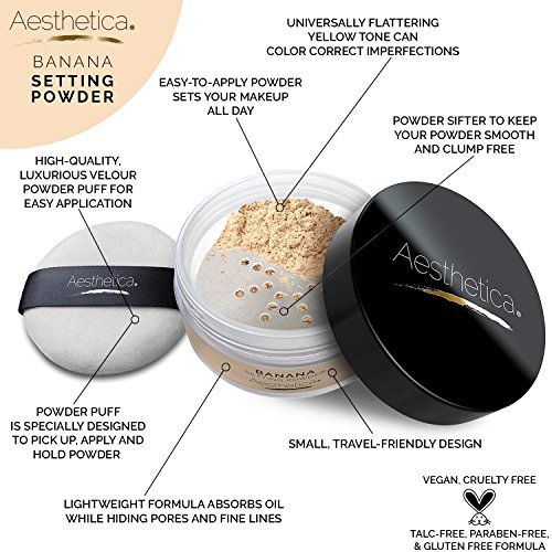 Aesthetica-Banana-Loose-Setting-Powder--Talc-Free-Setting-Powder-Highlighter-for-a-Superior-Matte-Finish-Flash-Friendly--Includes-Luxurious-Velour-Puff-for-Flawless-Application