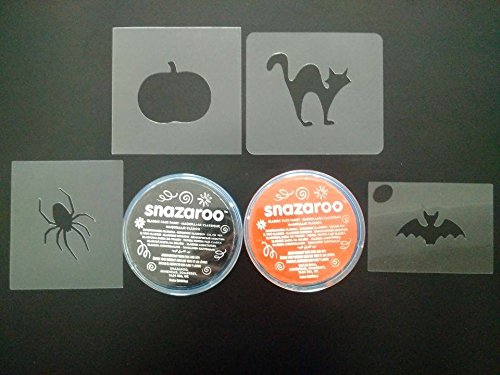 Halloween face painting set including 4 stencils & face paint cat bat spider pumpkin -