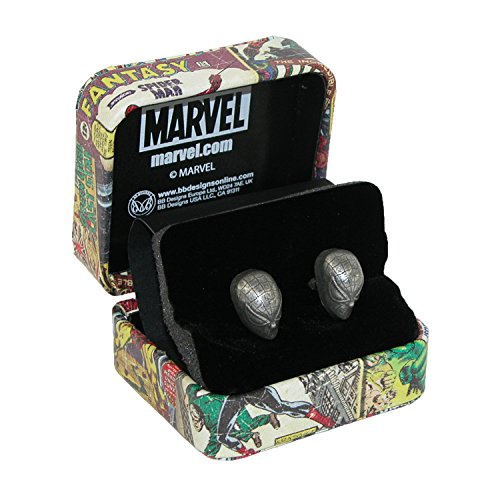 BB Designs Marvel Comics Spiderman Cufflinks, Silver