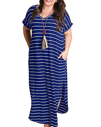 Tongmingyun Womens Plus Size Maxi Dresses Striped V Neck Short Sleeve T Shirt Casual Summer Long Dress with Pockets Blue (Royal Black And Blue Stripe Dress)