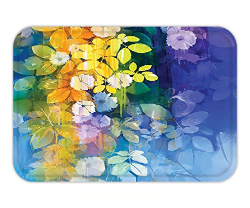Beshowere Doormat Watercolor Flower Decor Collection Mixed Flowerin Fd and Vibrant Color Painting Spring Seasonal Nature Background Bedroom Living Room Dorm Multi.jpg (Seasonal Outdoor Painting Collection)