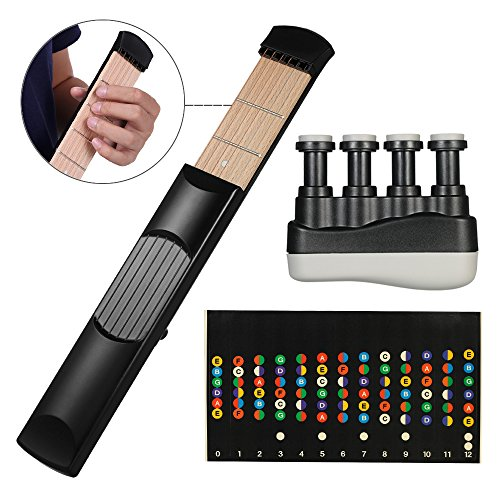 Portable Pocket Guitar Practice Tool Gadget Guitar Chord Trainer 6 Fret Black + Portable Guitar Bass Finger Exerciser (black) + Guitar Scale Stickers Fingerboard Note Decals for Beginner Practice - Image 8